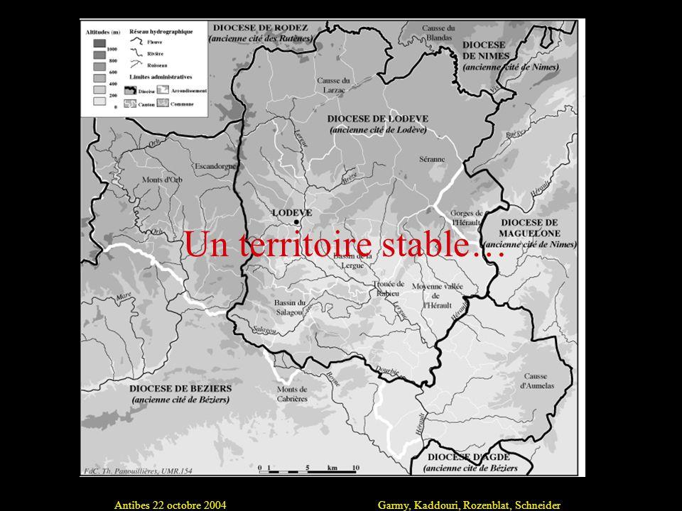 Antibes 22 octobre 2004Garmy, Kaddouri, Rozenblat, Schneider Un territoire stable…