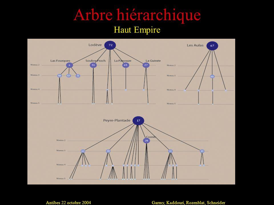 Antibes 22 octobre 2004Garmy, Kaddouri, Rozenblat, Schneider Arbre hiérarchique Haut Empire
