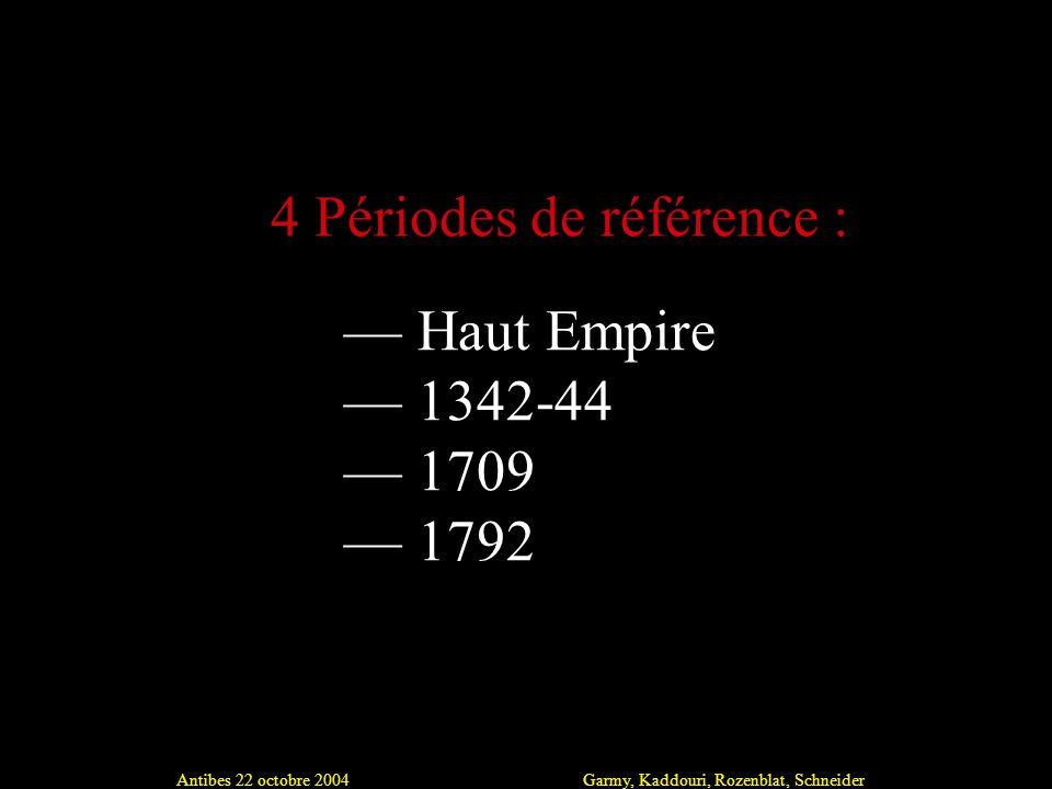 Antibes 22 octobre 2004Garmy, Kaddouri, Rozenblat, Schneider Haut Empire 1342-44 1709 1792 4 Périodes de référence :