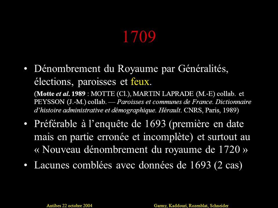 Antibes 22 octobre 2004Garmy, Kaddouri, Rozenblat, Schneider 1709 Dénombrement du Royaume par Généralités, élections, paroisses et feux.