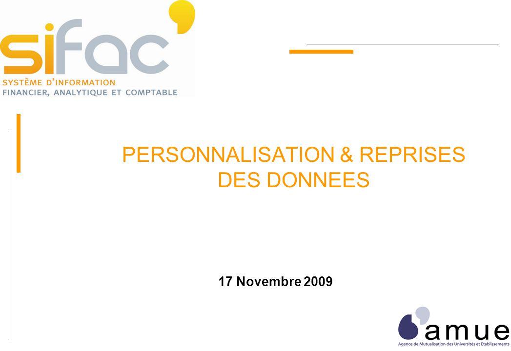 PERSONNALISATION & REPRISES DES DONNEES 17 Novembre 2009