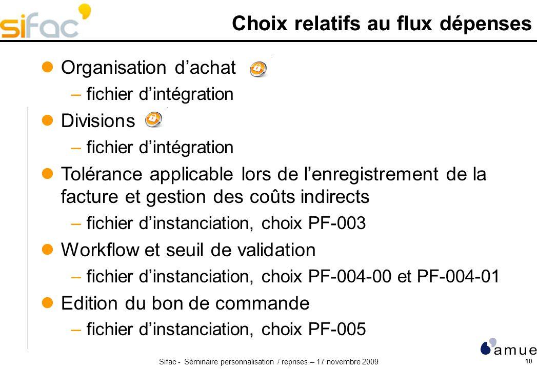 Sifac - Séminaire personnalisation / reprises – 17 novembre 2009 10 Choix relatifs au flux dépenses Organisation dachat –fichier dintégration Division