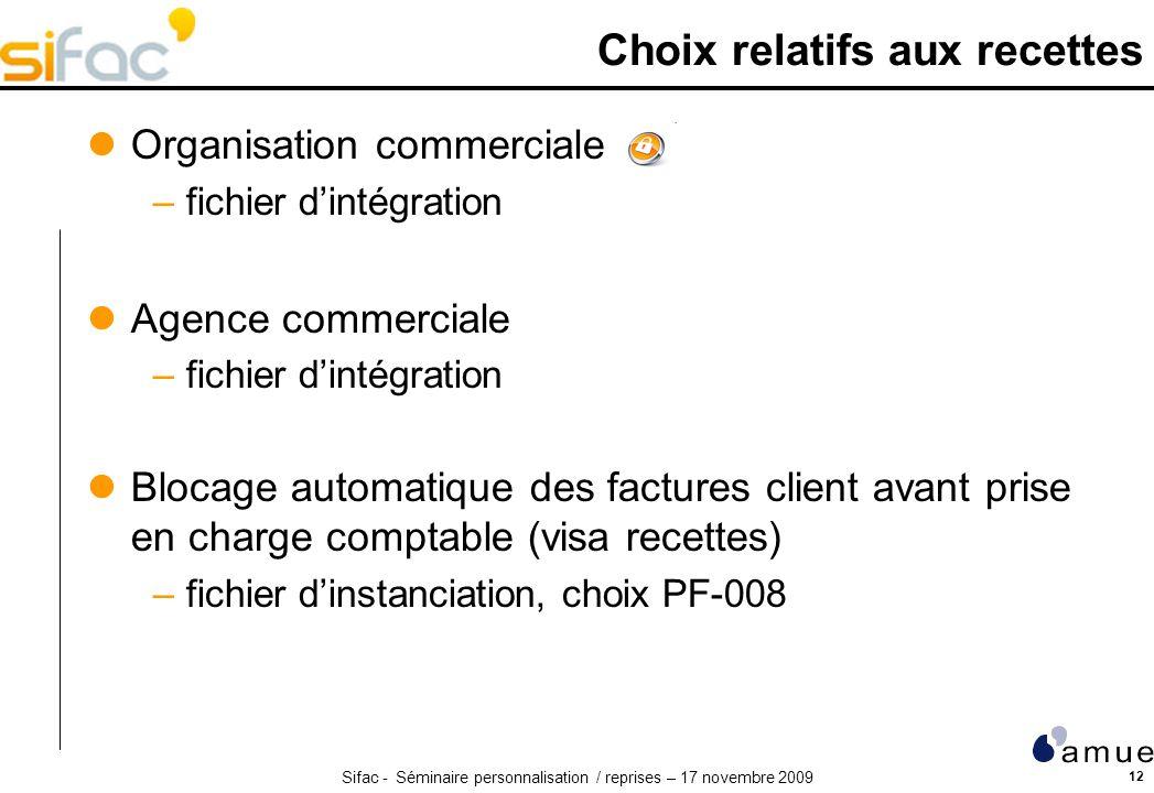 Sifac - Séminaire personnalisation / reprises – 17 novembre 2009 12 Choix relatifs aux recettes Organisation commerciale –fichier dintégration Agence