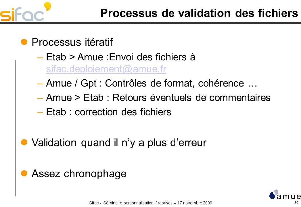 Sifac - Séminaire personnalisation / reprises – 17 novembre 2009 20 Processus de validation des fichiers Processus itératif –Etab > Amue :Envoi des fichiers à sifac.deploiement@amue.fr sifac.deploiement@amue.fr –Amue / Gpt : Contrôles de format, cohérence … –Amue > Etab : Retours éventuels de commentaires –Etab : correction des fichiers Validation quand il ny a plus derreur Assez chronophage