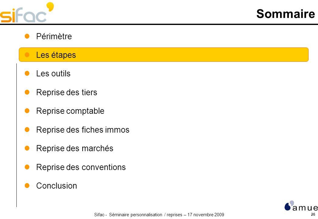 Sifac - Séminaire personnalisation / reprises – 17 novembre 2009 26 Sommaire Périmètre Les étapes Les outils Reprise des tiers Reprise comptable Repri