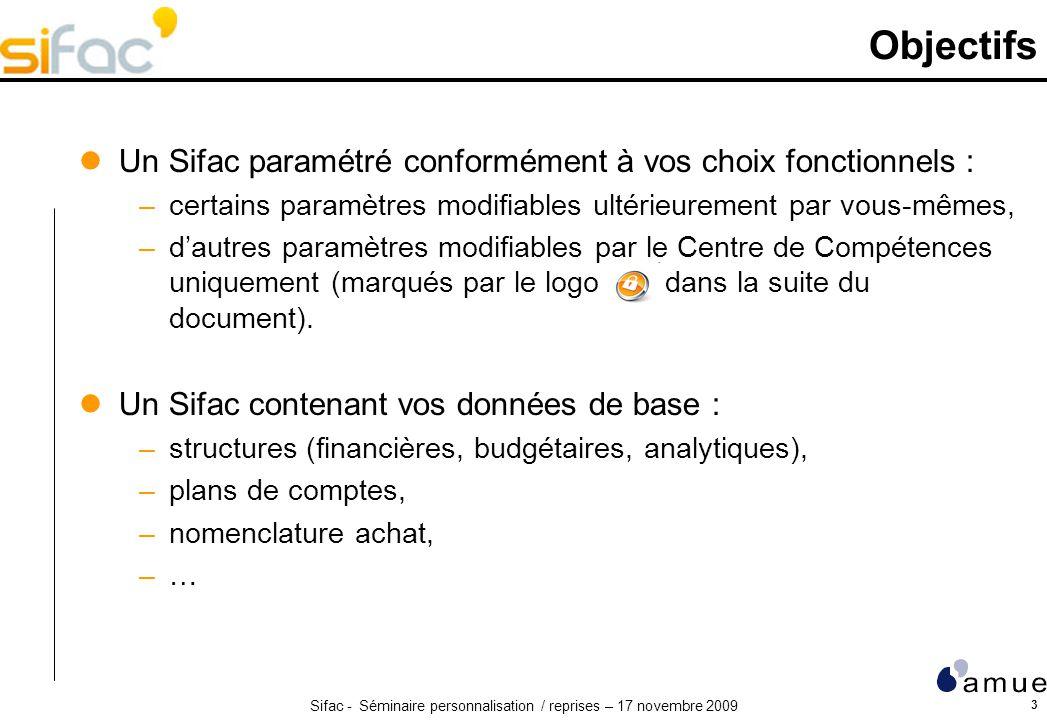 Sifac - Séminaire personnalisation / reprises – 17 novembre 2009 3 Objectifs Un Sifac paramétré conformément à vos choix fonctionnels : –certains para