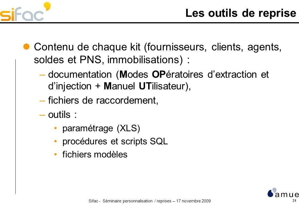 Sifac - Séminaire personnalisation / reprises – 17 novembre 2009 31 Les outils de reprise Contenu de chaque kit (fournisseurs, clients, agents, soldes