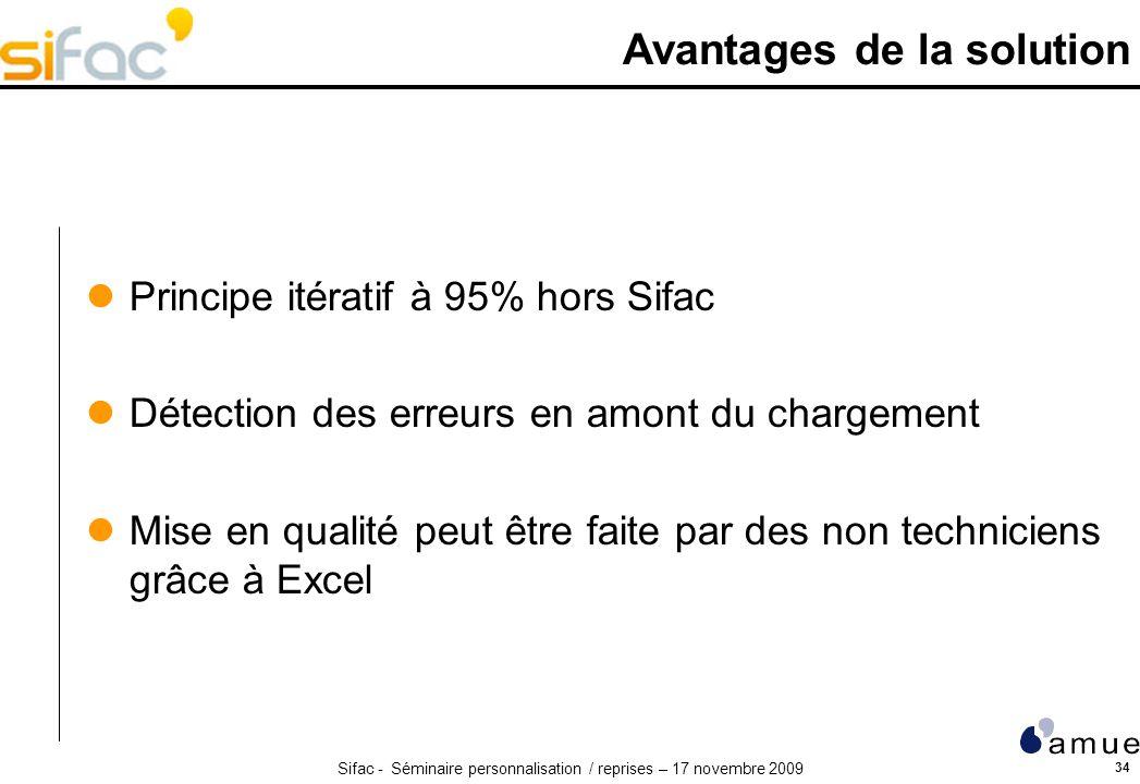 Sifac - Séminaire personnalisation / reprises – 17 novembre 2009 34 Avantages de la solution Principe itératif à 95% hors Sifac Détection des erreurs en amont du chargement Mise en qualité peut être faite par des non techniciens grâce à Excel