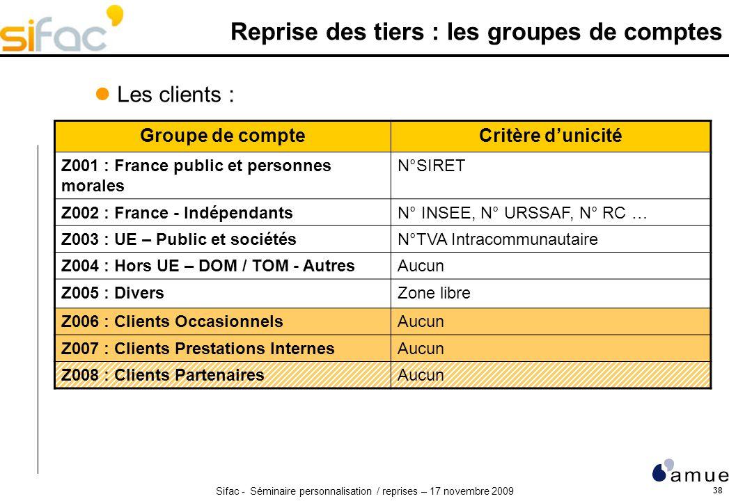 Sifac - Séminaire personnalisation / reprises – 17 novembre 2009 38 Reprise des tiers : les groupes de comptes Groupe de compteCritère dunicité Z001 :
