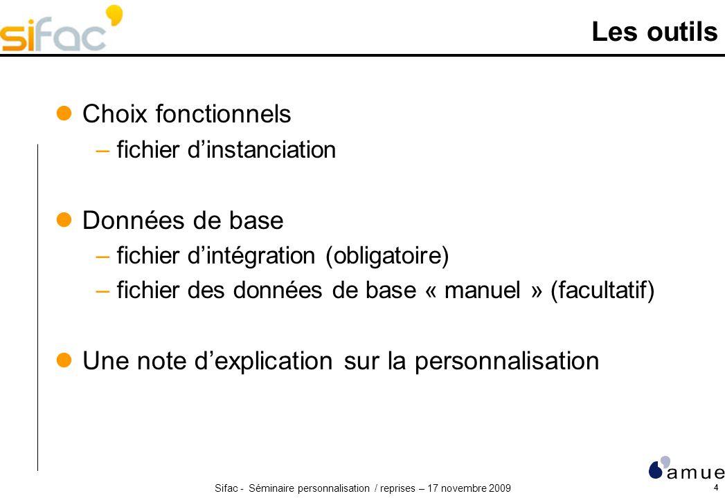 Sifac - Séminaire personnalisation / reprises – 17 novembre 2009 4 Les outils Choix fonctionnels –fichier dinstanciation Données de base –fichier dint