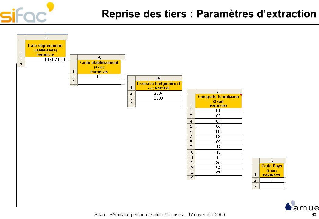 Sifac - Séminaire personnalisation / reprises – 17 novembre 2009 43 Reprise des tiers : Paramètres dextraction