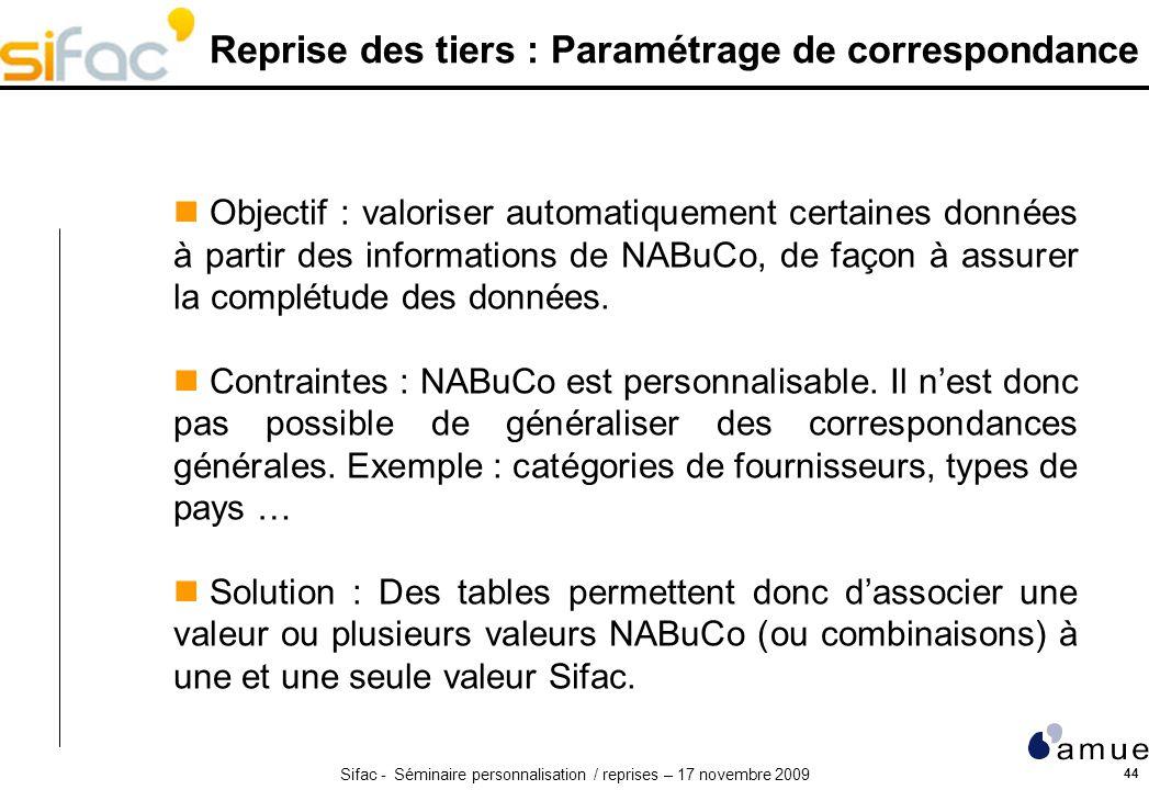 Sifac - Séminaire personnalisation / reprises – 17 novembre 2009 44 Reprise des tiers : Paramétrage de correspondance Objectif : valoriser automatiquement certaines données à partir des informations de NABuCo, de façon à assurer la complétude des données.