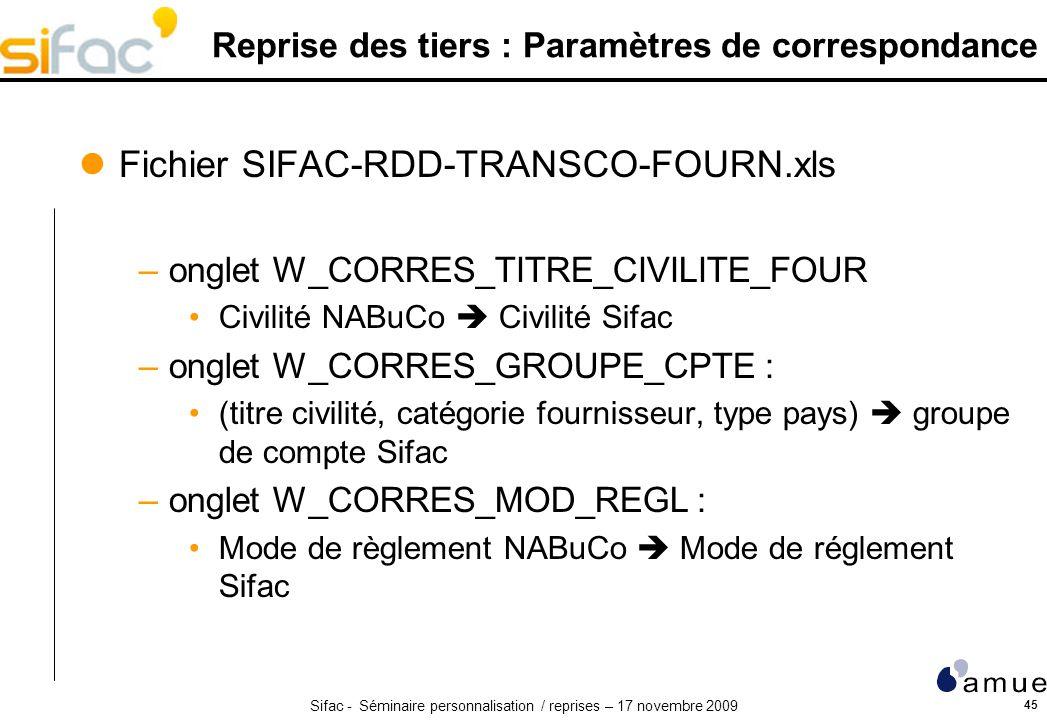 Sifac - Séminaire personnalisation / reprises – 17 novembre 2009 45 Reprise des tiers : Paramètres de correspondance Fichier SIFAC-RDD-TRANSCO-FOURN.xls –onglet W_CORRES_TITRE_CIVILITE_FOUR Civilité NABuCo Civilité Sifac –onglet W_CORRES_GROUPE_CPTE : (titre civilité, catégorie fournisseur, type pays) groupe de compte Sifac –onglet W_CORRES_MOD_REGL : Mode de règlement NABuCo Mode de réglement Sifac