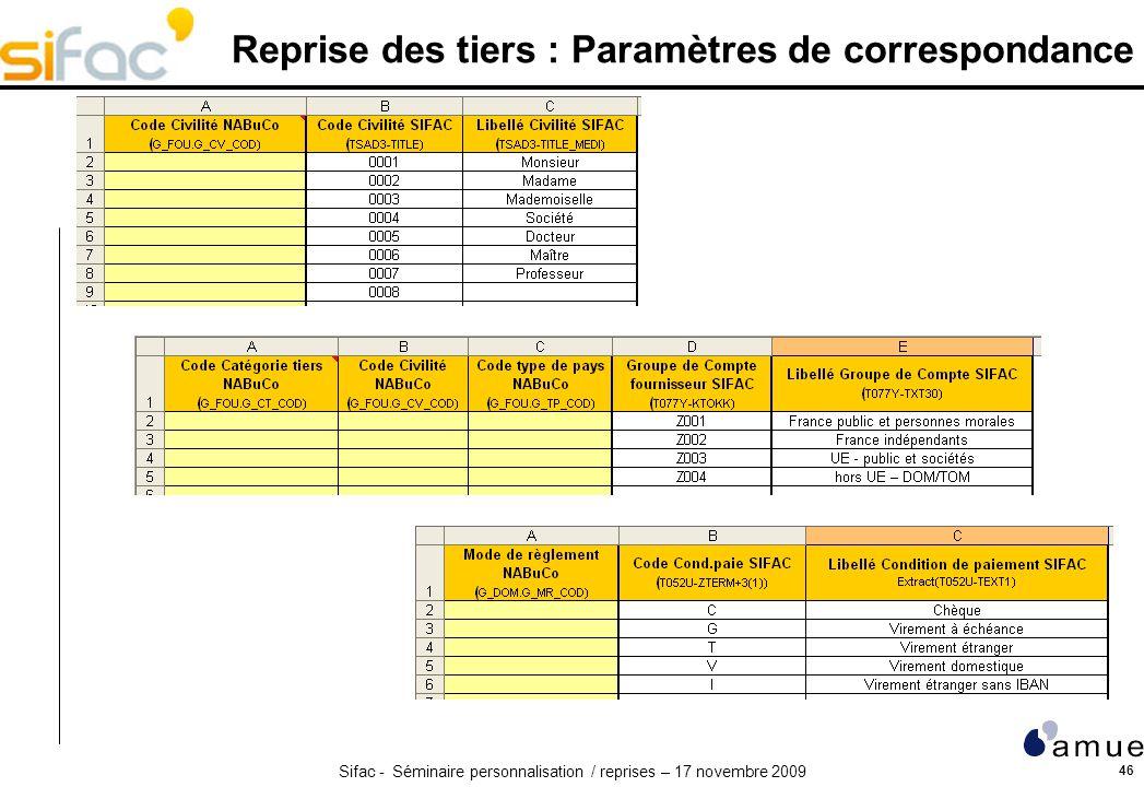 Sifac - Séminaire personnalisation / reprises – 17 novembre 2009 46 Reprise des tiers : Paramètres de correspondance