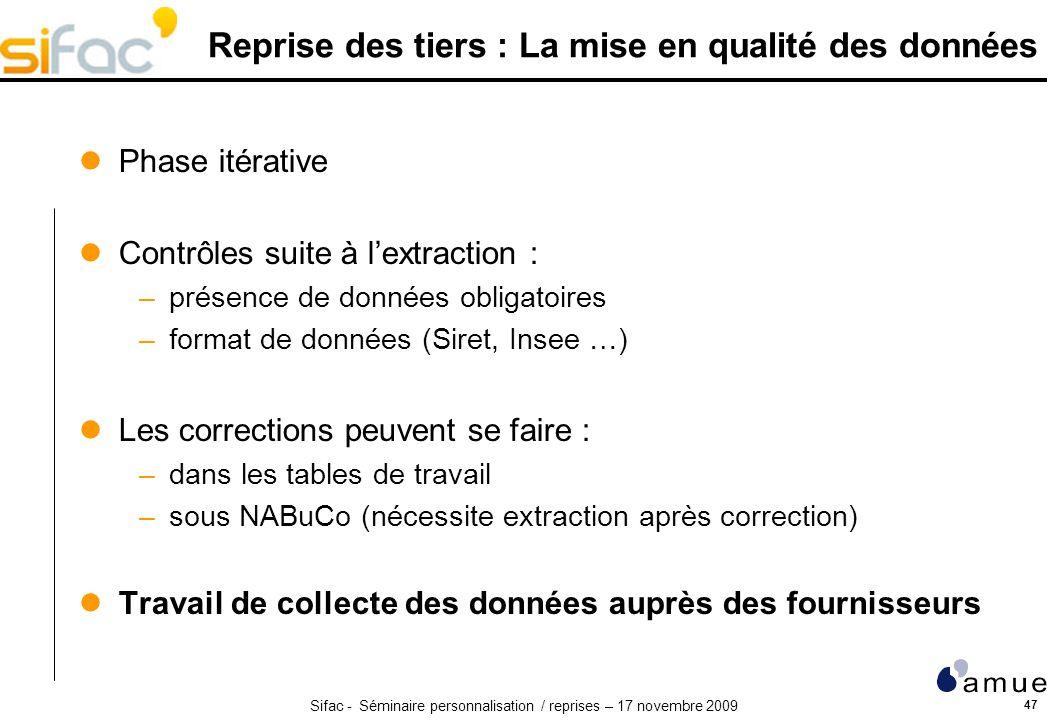 Sifac - Séminaire personnalisation / reprises – 17 novembre 2009 47 Reprise des tiers : La mise en qualité des données Phase itérative Contrôles suite