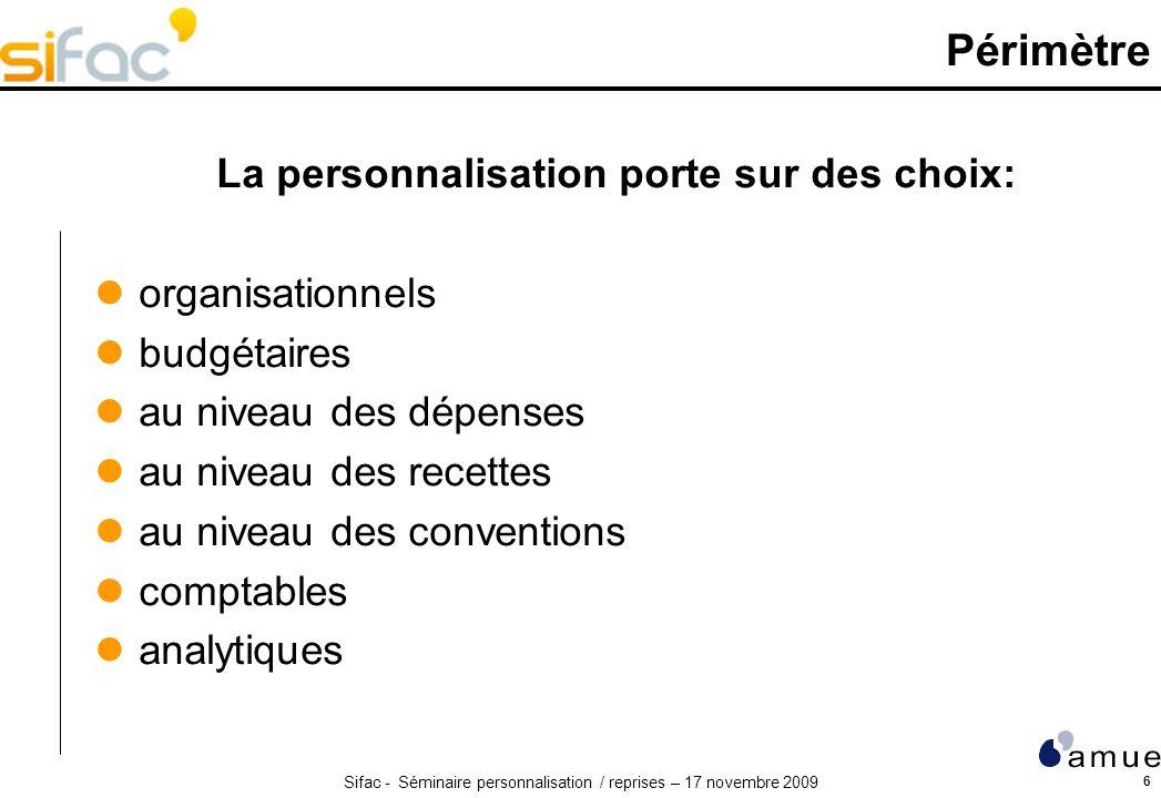 Sifac - Séminaire personnalisation / reprises – 17 novembre 2009 6 Périmètre La personnalisation porte sur des choix: organisationnels budgétaires au