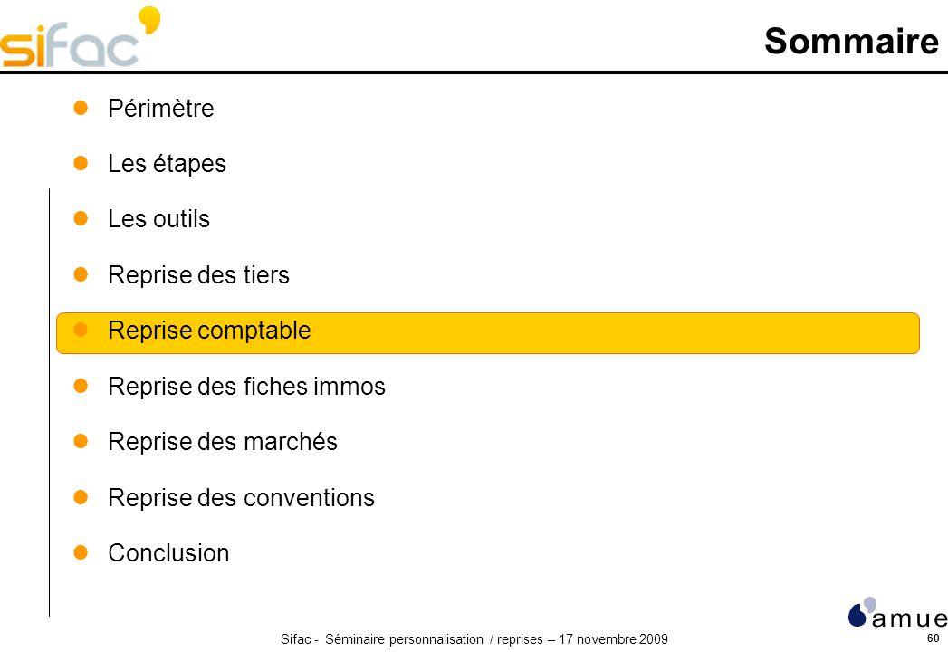 Sifac - Séminaire personnalisation / reprises – 17 novembre 2009 60 Sommaire Périmètre Les étapes Les outils Reprise des tiers Reprise comptable Repri