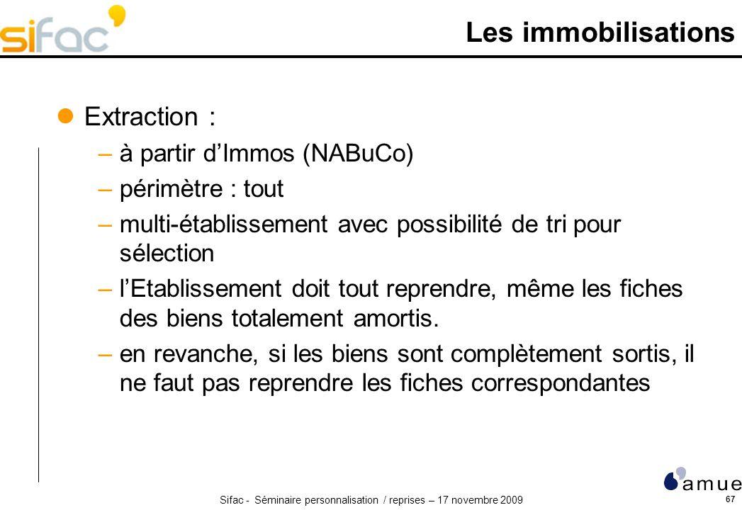 Sifac - Séminaire personnalisation / reprises – 17 novembre 2009 67 Les immobilisations Extraction : –à partir dImmos (NABuCo) –périmètre : tout –mult