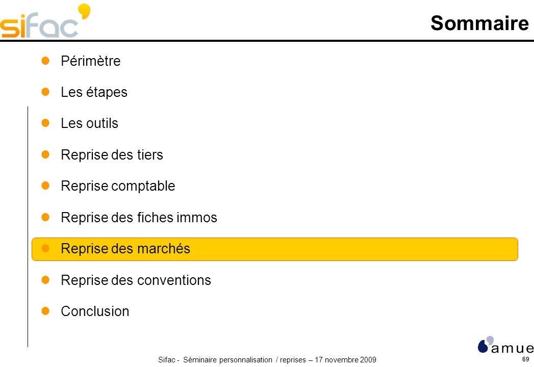 Sifac - Séminaire personnalisation / reprises – 17 novembre 2009 69 Sommaire Périmètre Les étapes Les outils Reprise des tiers Reprise comptable Repri