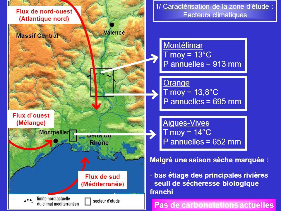 1/ Caractérisation de la zone détude : Facteurs climatiques Valence Massif Central Delta du Rhône Flux de sud (Méditerranée) Flux douest (Mélange) Flu