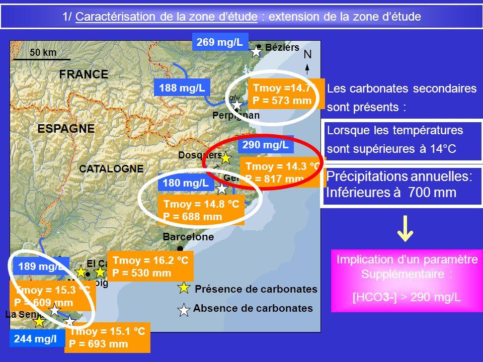 1/ Caractérisation de la zone détude : extension de la zone détude CATALOGNE Gerona Barcelone Montroig La Senia Ter Ebre Perpignan Béziers FRANCE ESPA