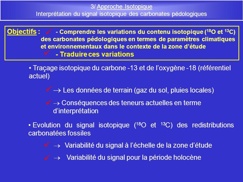 3/ Approche Isotopique Interprétation du signal isotopique des carbonates pédologiques Traçage isotopique du carbone -13 et de loxygène -18 (référenti