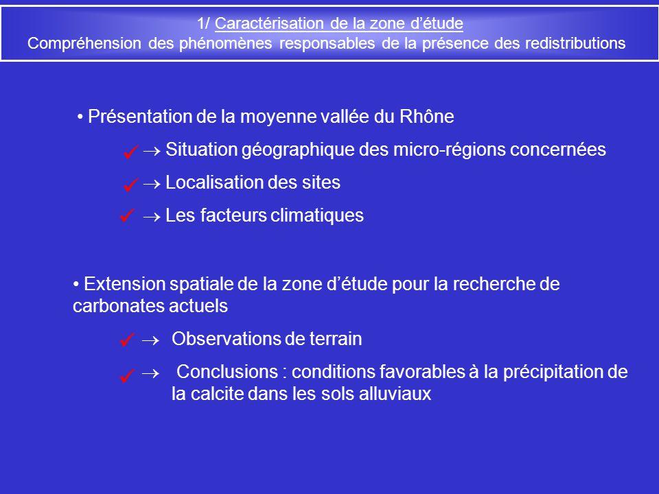 1/ Caractérisation de la zone détude : Situation géographique 1 – Bassin valdainais Micro-régions concernées : 1 2 - Plaine alluviale du Tricastin 2 Limite nord actuelle du climat méditerranéen 3 3 - Plaine dOrange 4 4 – Basse vallée du Vidourle Sur le Transect du TGV-Méditerranée : Hors Transect du TGV-Méditerranée : 210 km -Signal isotopique caractéristique des régions côtières - Résolution fine et continue Informations des carbonates rendent compte de la spatialisation des phénomènes étudiés: -Mise en évidence de tendances régionales - signatures plus locales