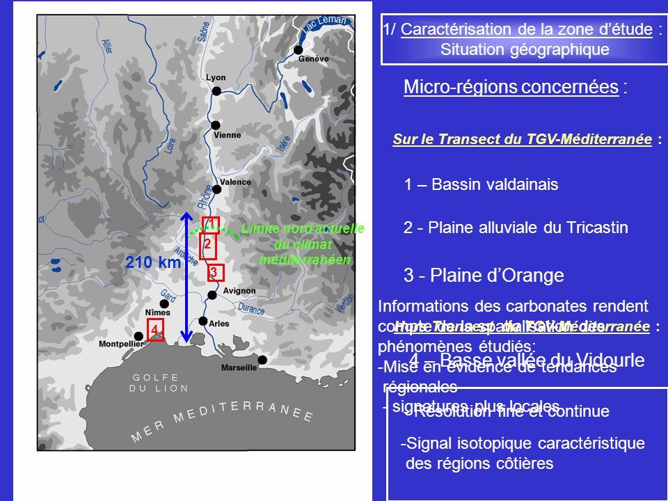 Caractérisation des climats et des environnements Rhodaniens postglaciaires Conclusions générales 1/ Caractérisation du climat actuel 2/ Approche morphologique et sédimentologique Equilibres complexes entre paramètres climatiques et teneur en HCO 3 - des nappes Détermination des paramètres favorables à la formation des carbonates Mise en évidence de liens étroits entre les différents traits carbonatés 3/ Approche isotopique Compréhension du signal du 13 C et du 18 O Précisions sur les fluctuations de position du front méditerranéen au cours de lHolocène Liens possibles entre fluctuations du 14 C et 18 O des carbonates Schéma dévolution global Carbonates pédologiques Traceur fiable
