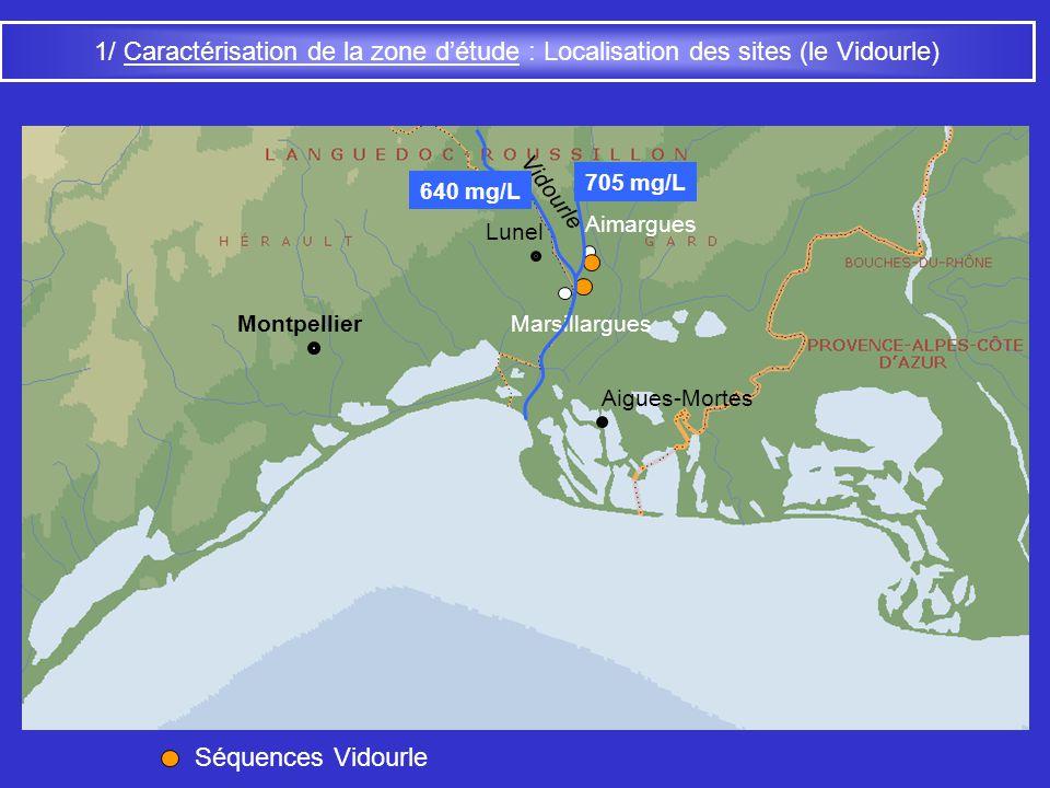 1/ Caractérisation de la zone détude : Facteurs climatiques Valence Massif Central Delta du Rhône Flux de sud (Méditerranée) Flux douest (Mélange) Flux de nord-ouest (Atlantique nord) Montpellier Montélimar T moy = 13°C P annuelles = 913 mm Orange T moy = 13,8°C P annuelles = 695 mm Aigues-Vives T moy = 14°C P annuelles = 652 mm Pas de carbonatations actuelles Malgré une saison sèche marquée : - bas étiage des principales rivières - seuil de sécheresse biologique franchi