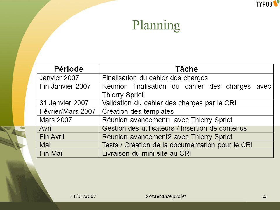 Planning PériodeTâche Janvier 2007Finalisation du cahier des charges Fin Janvier 2007Réunion finalisation du cahier des charges avec Thierry Spriet 31
