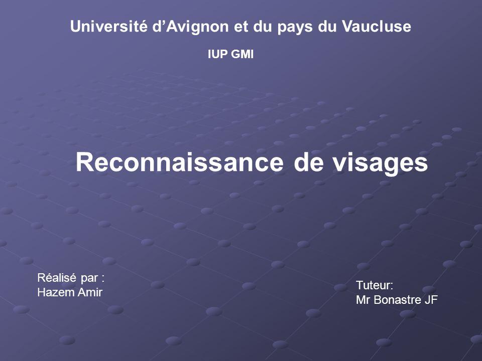 Reconnaissance de visages Université dAvignon et du pays du Vaucluse IUP GMI Réalisé par : Hazem Amir Tuteur: Mr Bonastre JF