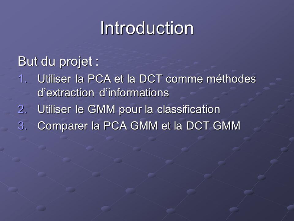 Introduction But du projet : 1.Utiliser la PCA et la DCT comme méthodes dextraction dinformations 2.Utiliser le GMM pour la classification 3.Comparer