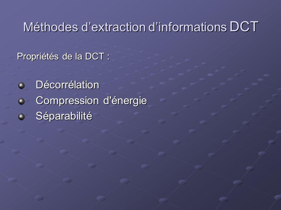 Méthodes dextraction dinformations DCT Propriétés de la DCT : Décorrélation Compression d'énergie Séparabilité