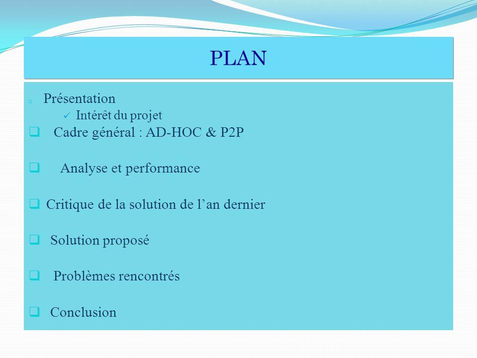 PLAN PLAN Présentation Intérêt du projet Cadre général : AD-HOC & P2P Analyse et performance Critique de la solution de lan dernier Solution proposé Problèmes rencontrés Conclusion
