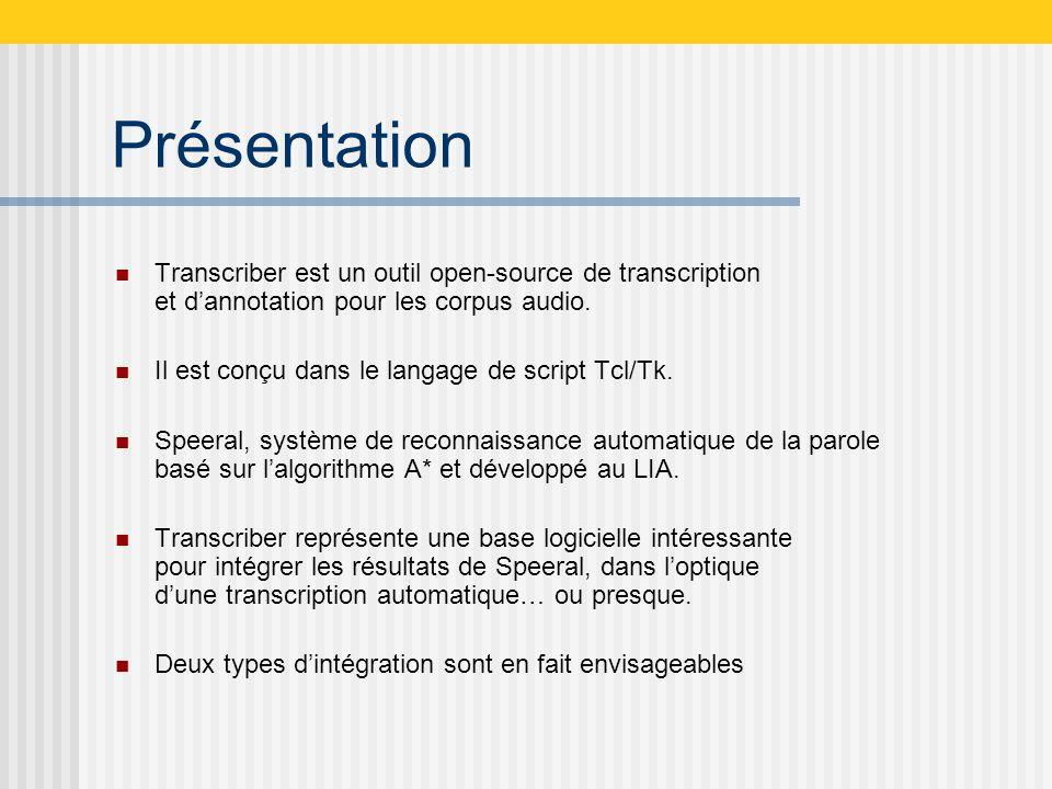 Présentation Transcriber est un outil open-source de transcription et dannotation pour les corpus audio.