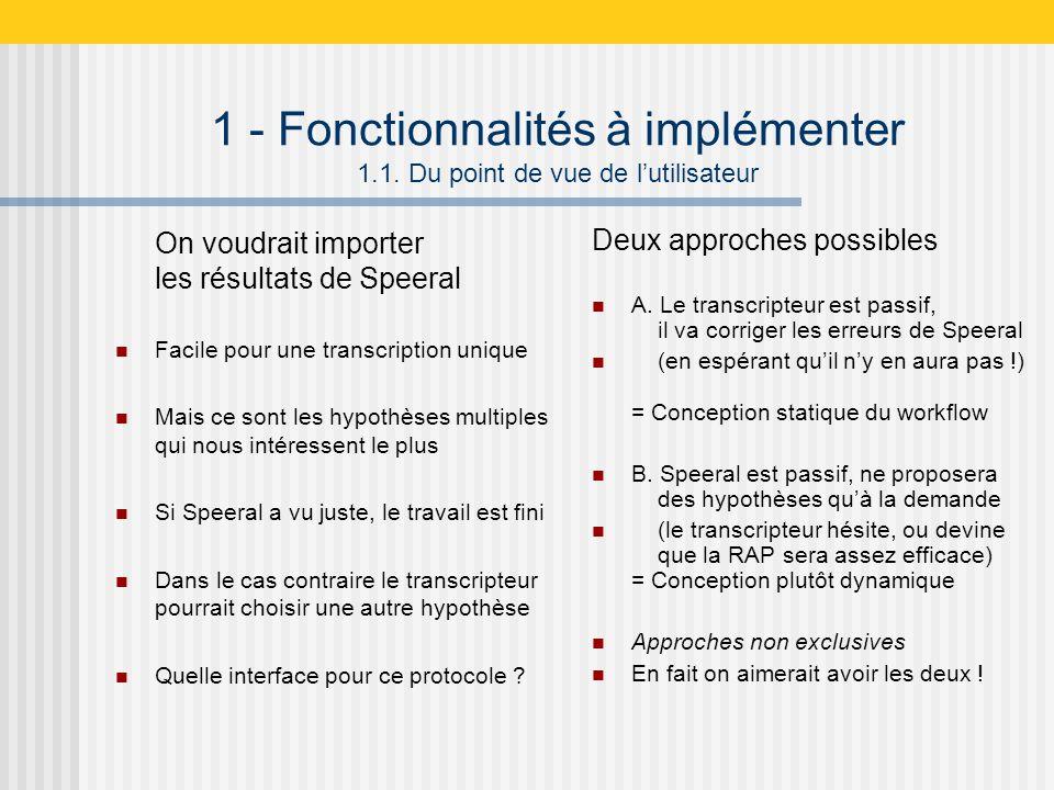 1 - Fonctionnalités à implémenter 1.1.