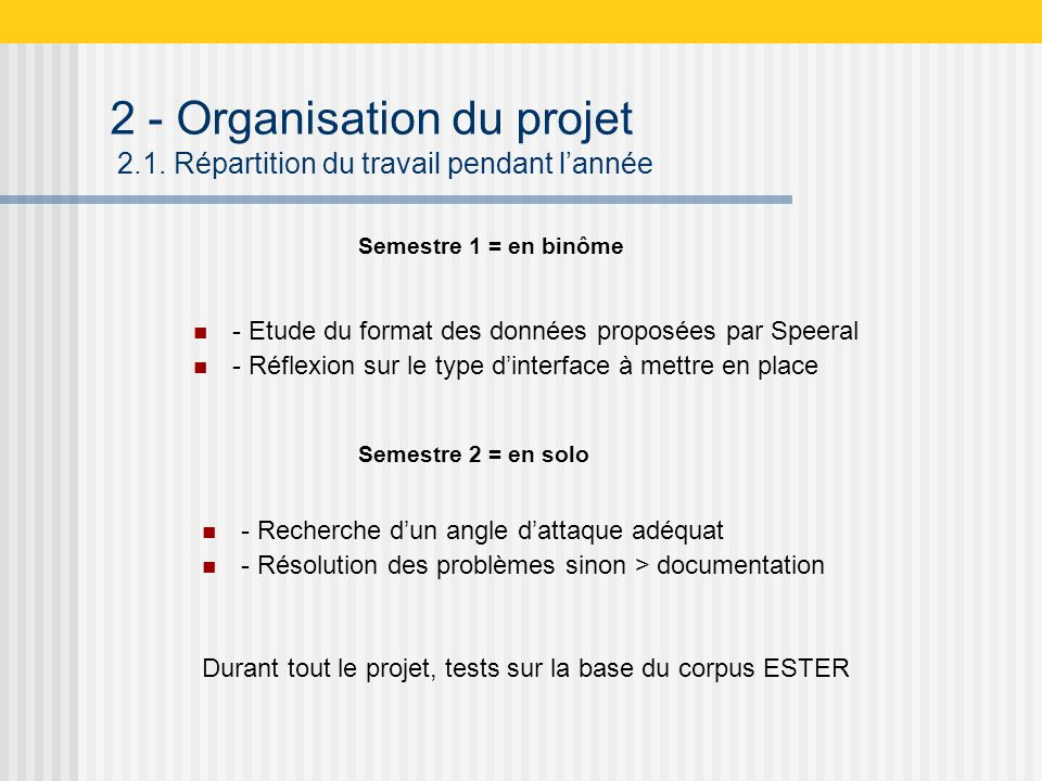 2 - Organisation du projet 2.1.