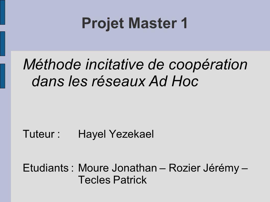 Projet Master 1 Méthode incitative de coopération dans les réseaux Ad Hoc Tuteur :Hayel Yezekael Etudiants :Moure Jonathan – Rozier Jérémy – Tecles Pa
