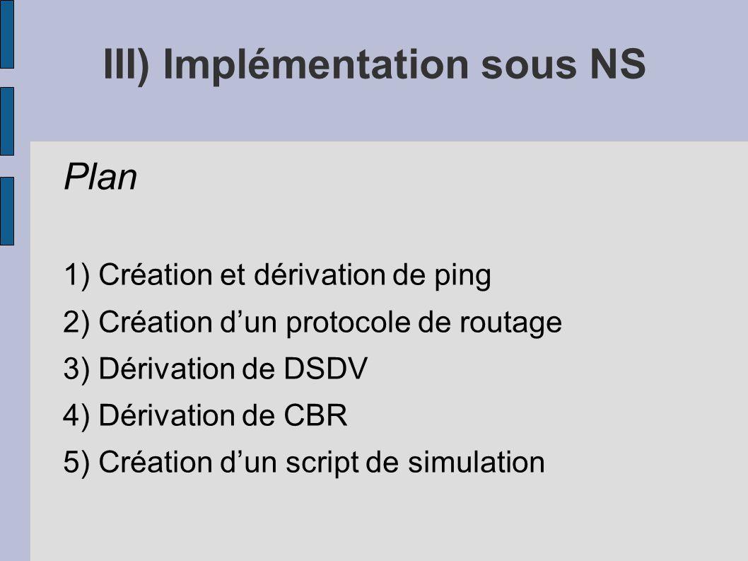 III) Implémentation sous NS Plan 1) Création et dérivation de ping 2) Création dun protocole de routage 3) Dérivation de DSDV 4) Dérivation de CBR 5)