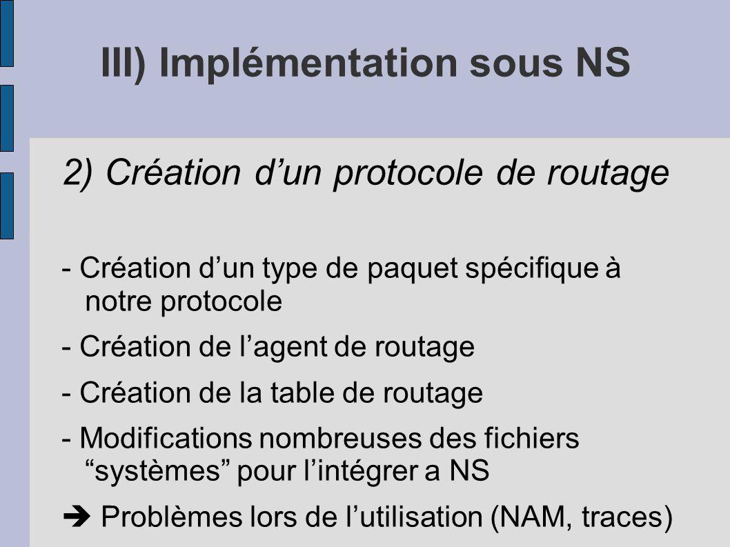 III) Implémentation sous NS 2) Création dun protocole de routage - Création dun type de paquet spécifique à notre protocole - Création de lagent de ro
