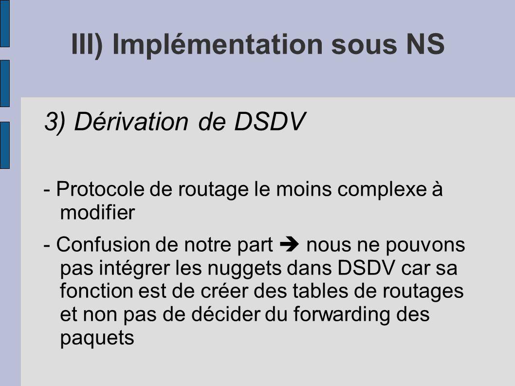 III) Implémentation sous NS 3) Dérivation de DSDV - Protocole de routage le moins complexe à modifier - Confusion de notre part nous ne pouvons pas in