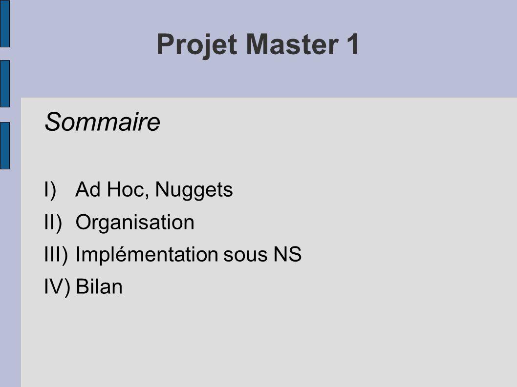 Projet Master 1 Sommaire I)Ad Hoc, Nuggets II)Organisation III)Implémentation sous NS IV) Bilan