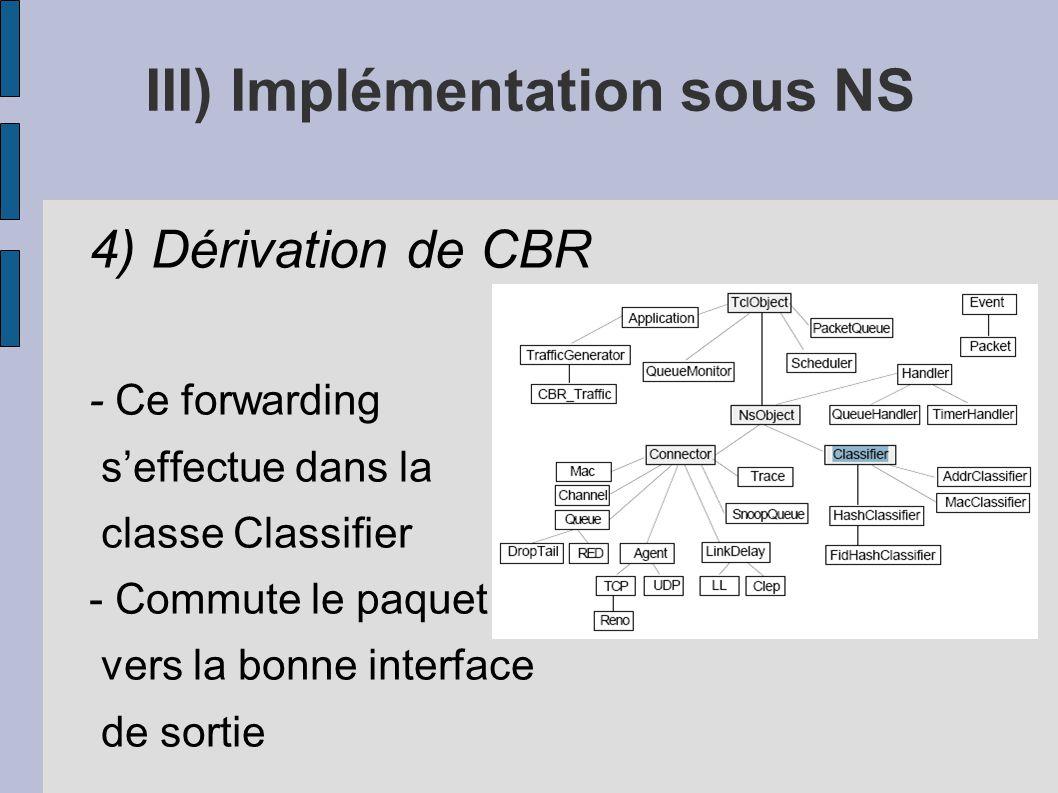 III) Implémentation sous NS 4) Dérivation de CBR - Ce forwarding seffectue dans la classe Classifier - Commute le paquet vers la bonne interface de so