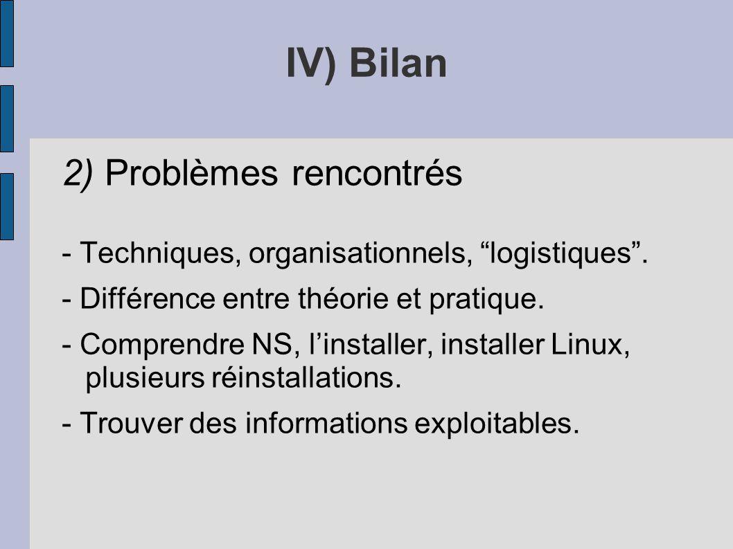 2) Problèmes rencontrés - Techniques, organisationnels, logistiques. - Différence entre théorie et pratique. - Comprendre NS, linstaller, installer Li
