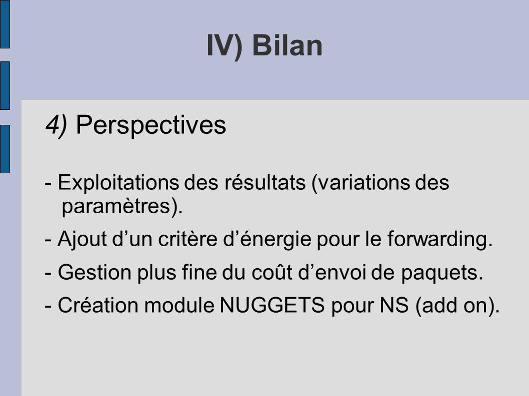 4) Perspectives - Exploitations des résultats (variations des paramètres). - Ajout dun critère dénergie pour le forwarding. - Gestion plus fine du coû