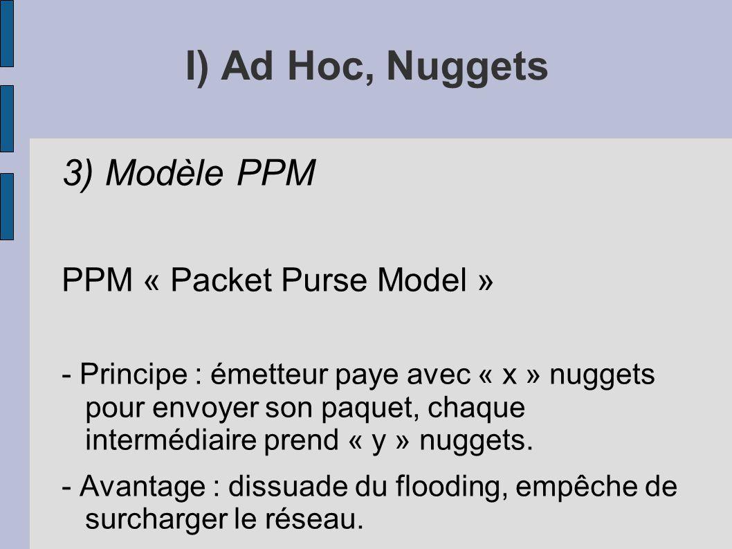 I) Ad Hoc, Nuggets 3) Modèle PPM PPM « Packet Purse Model » - Principe : émetteur paye avec « x » nuggets pour envoyer son paquet, chaque intermédiair
