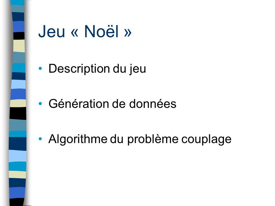 Jeu « Noël » Description du jeu Génération de données Algorithme du problème couplage