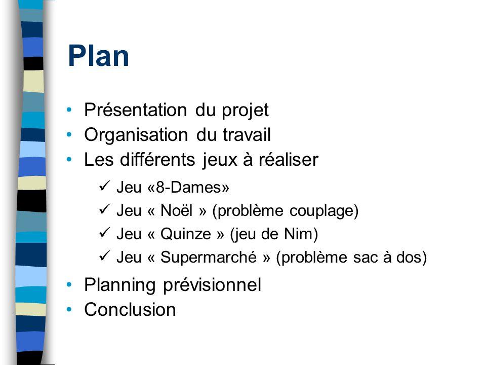Plan Présentation du projet Organisation du travail Les différents jeux à réaliser Planning prévisionnel Conclusion Jeu «8-Dames» Jeu « Noël » (problè