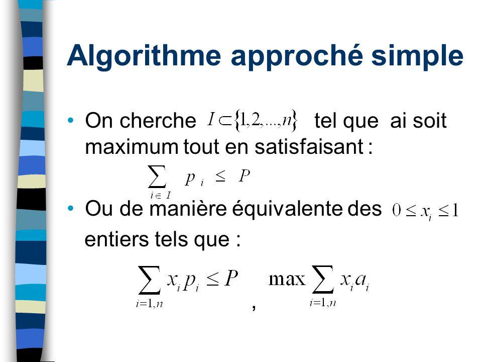 Algorithme approché simple On cherche tel que ai soit maximum tout en satisfaisant : Ou de manière équivalente des entiers tels que :,