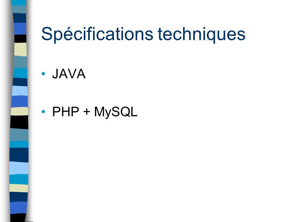 Spécifications techniques JAVA PHP + MySQL